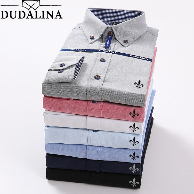 Oxford Blouse Dudalina Camisa Social Masculina Long Sleeve Cocktail Dresses Patchwork Slim Fit Plus Size Jeans Male