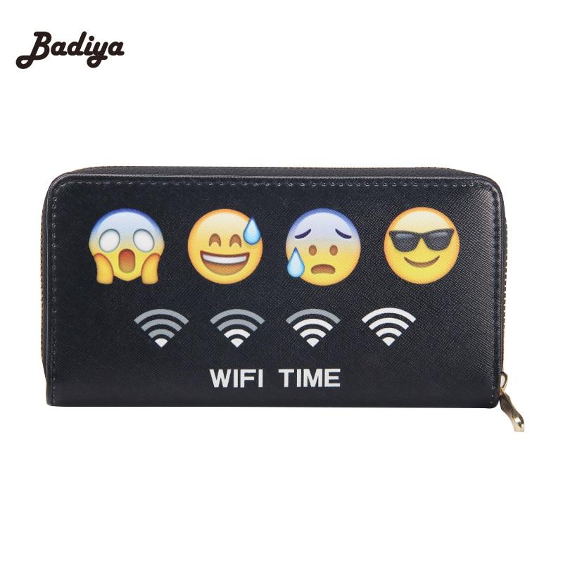 Fashion New Card Holder With Phone Pounch Emoji Printings PU Leather Women Wallet Zipper Design Clutch Purse For Women tatonka protection pounch
