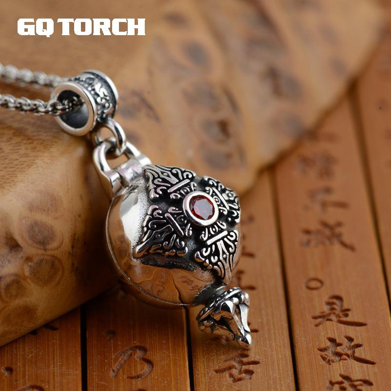 Real 925 Sterling Silver Buddha Pendant Openable Six Words Carving Inlaid Red Zircon Vintage Antique Style Buddhist JewelryReal 925 Sterling Silver Buddha Pendant Openable Six Words Carving Inlaid Red Zircon Vintage Antique Style Buddhist Jewelry