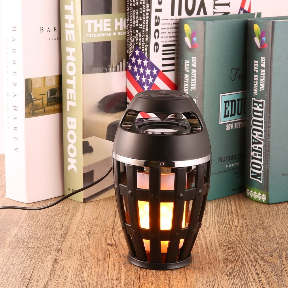 LED Torch Light Flickering Flame Atmosphere Lamp Bluetooth Speaker Stereo Night Lamp Portable Outdoor Wireless Loudspeaker Box
