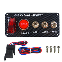 цена на LED Racing Car 12V LED Ignition Switch Panel Engine Start Push Button LED Toggle Carbon Fiber