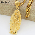 Tino Carlo Quality Virgin Mary full-length Portrait Pendant Necklace Men Hip Hop Gold Plated Curb Chain God Holy Mother Necklace