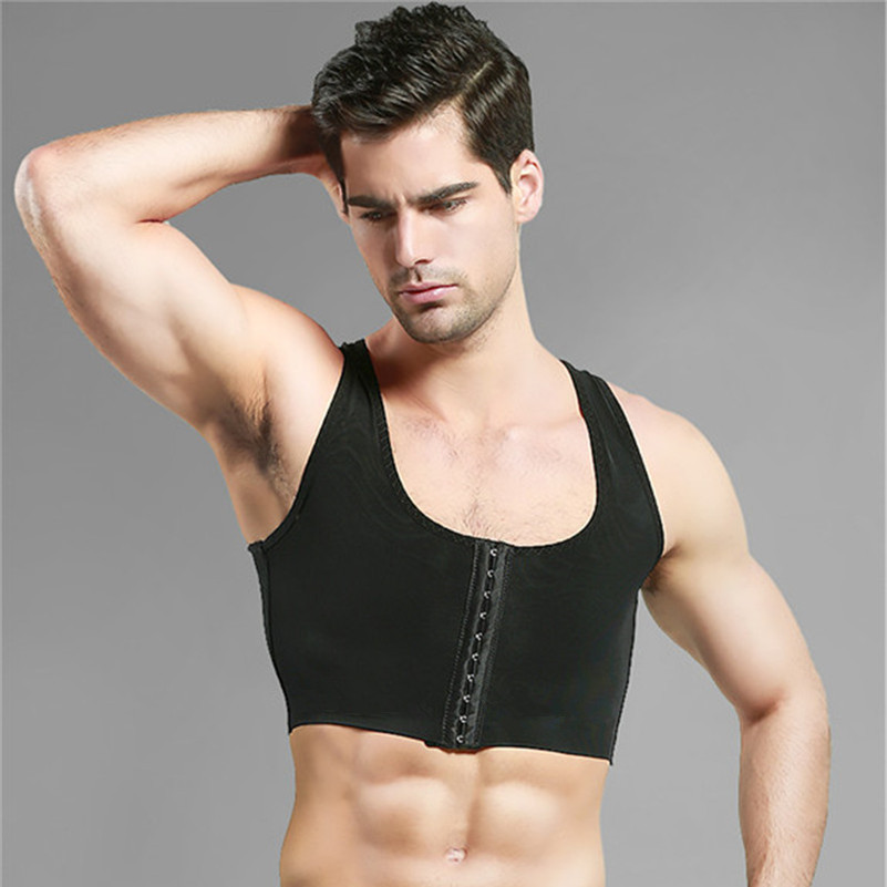 Male control chest Bra Gynecomastia Chest Shaper Vest tops Sexy Men Posture Corrector Compression Shirt Corset