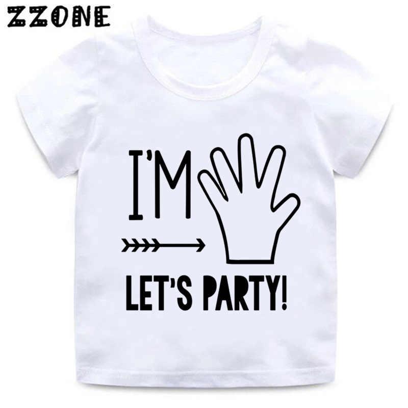 ผม 1/2/3/4/5 Let's Party พิมพ์เด็กตลก T เสื้อวันเกิดเสื้อผ้าเด็กสาวฤดูร้อนสีขาวเสื้อยืด, ooo5214