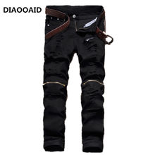 2018 hotsale black knee zipper hole men's jeans male club irregularities destroyed denim fabric stretch beggar trousers(China)
