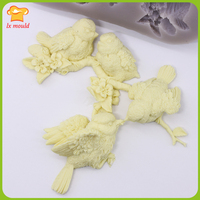 Bird language floral silicone mold soft candy dry pais cake decoration
