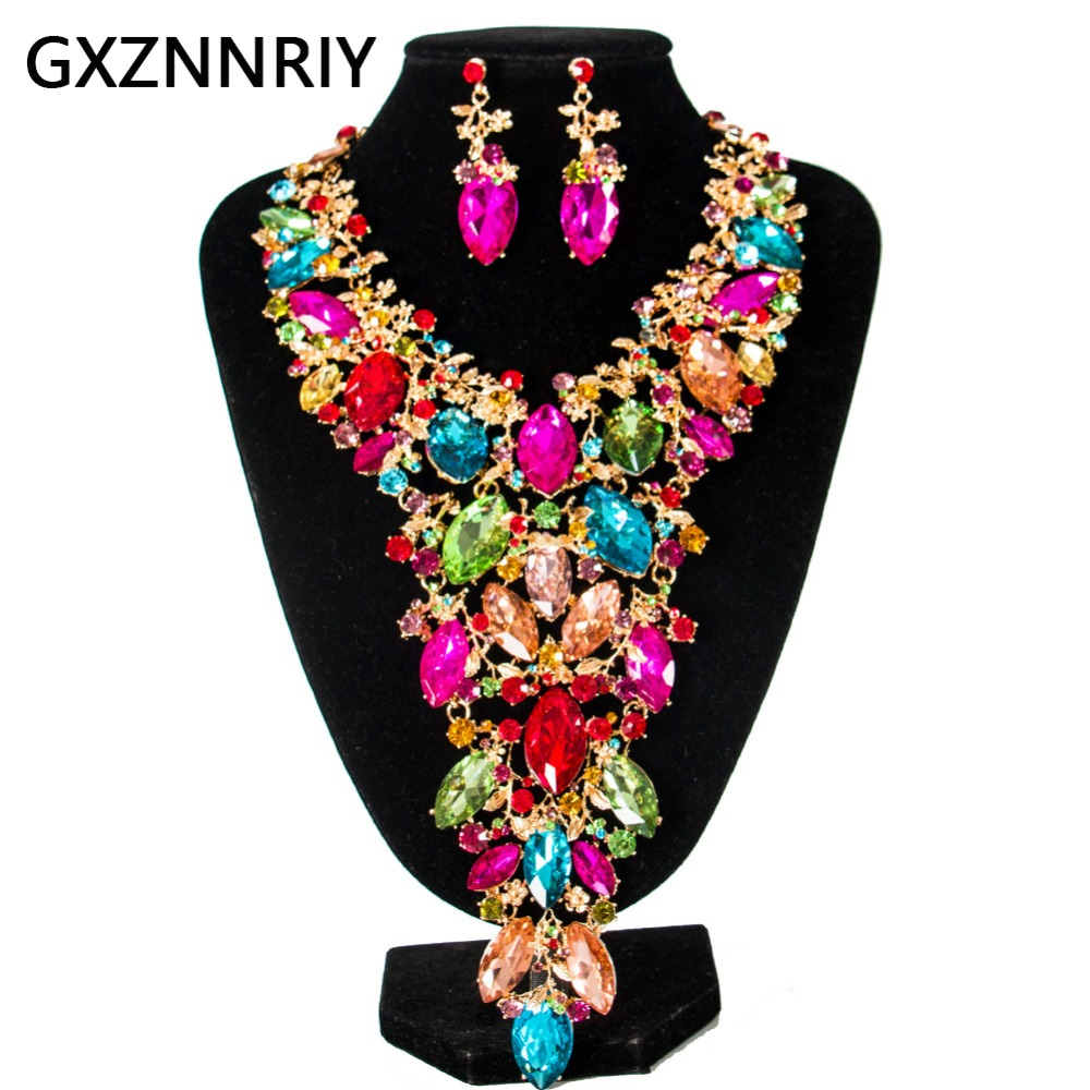 Ensembles de bijoux de mariée en cristal fleur pour femmes strass mariage or collier et boucles d'oreilles ensemble de bijoux de fête ensembles cadeaux