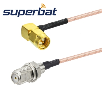 Superbat F Jack Bulkhead Jack Straight to SMA Plug Right Angle Pigtail Cable RG316 30cm RF Coaxial Jumper Cable Connector