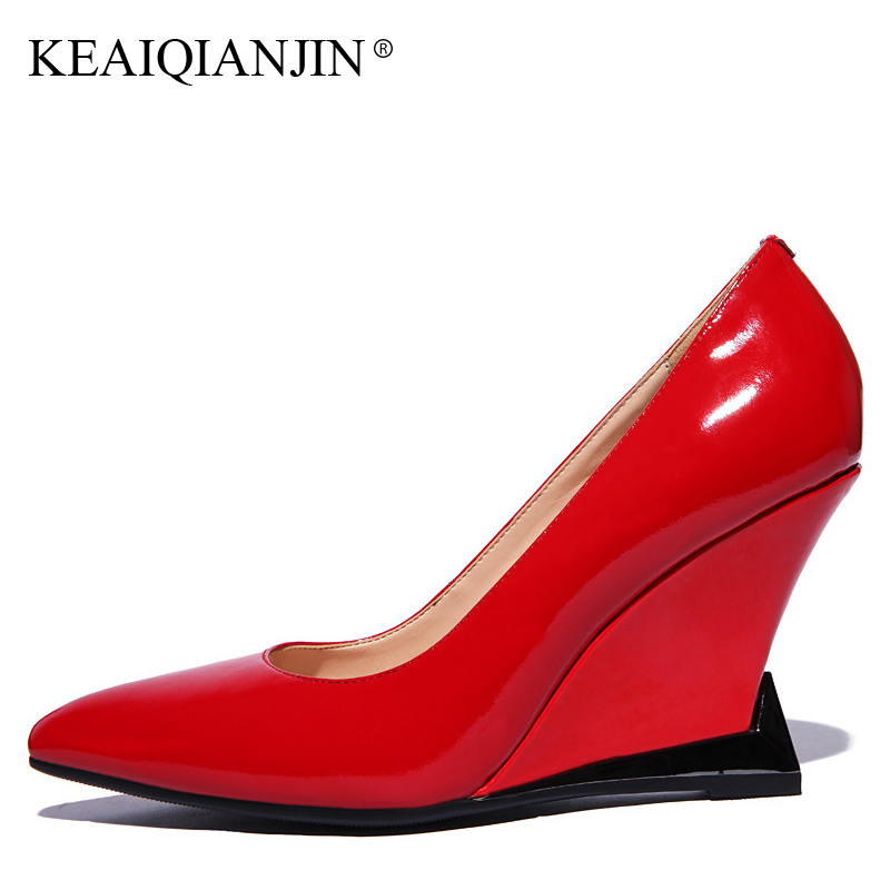 KEAIQIANJIN Woman Wedges Shoes Patent Leather Black Red Wedding Pumps Spring Autumn Genuine Leather Ultra High Heels Shoes 2018 patent leather pumps shoes red black