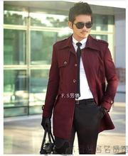 Красное вино зимний тонкий однобортный шерстяное пальто вскользь новая осень зима 2017 мужская casacos masculino мужчины пальто длинные 1 3XL