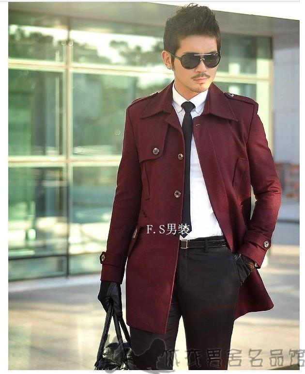 Wine red winter slim Single breasted wool coat casual new autumn winter 2018 men s casacos