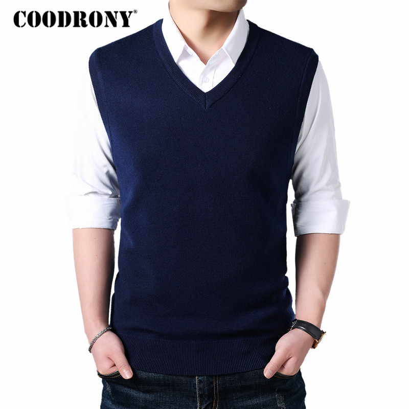 COODRONY Classic V-Neck Sleeveless Vest Men Cashmere Wool Sweater Men Clothes 2018 Autumn Winter Business Casual Pull Homme 8145