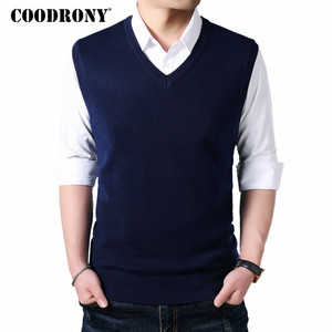 Image 1 - COODRONY Classic V Neck Sleeveless Vest Men Cashmere Wool Sweater Men Clothes 2018 Autumn Winter Business Casual Pull Homme 8145