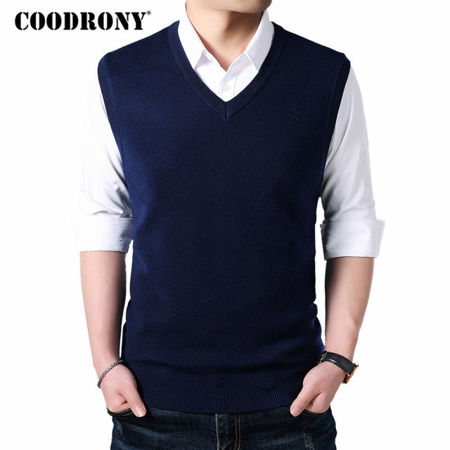 COODRONY Classic V Neck Sleeveless Vest Men Cashmere Wool Sweater Men Clothes 2018 Autumn Winter Business Casual Pull Homme 8145