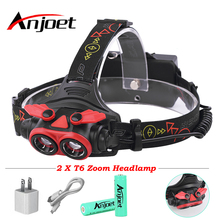 Anjoet 2* XML T6 LED Headlight 5000Lumnes zoom Headlamp USB Rechargeable Lantern Head Lamp Light Flashlight Torch For 18650 new xml t6 2 r5 led uv 6000 lm headlight headlamp lantern purple led flashlight 2 x18650 4000mah rechargeable battery charger