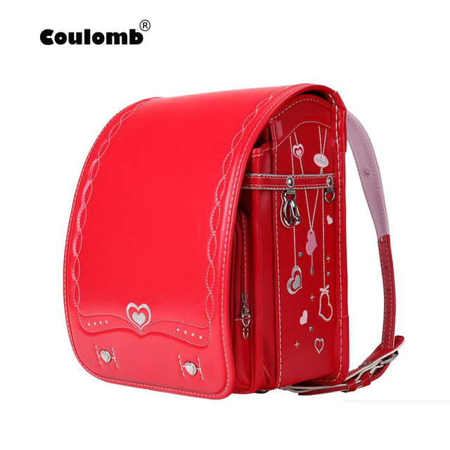 Coulomb Orthopedic School Bag Children Backpack For Boy And Girl For Kid PU Hasp Japan Randoseru Kid Bag Love Necklace  2018 New