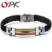OPK JEWELRY 2013 New Hot Wholesale Stainless Steel PU Leather Bracelet Bangle For Men Handmade Vintage