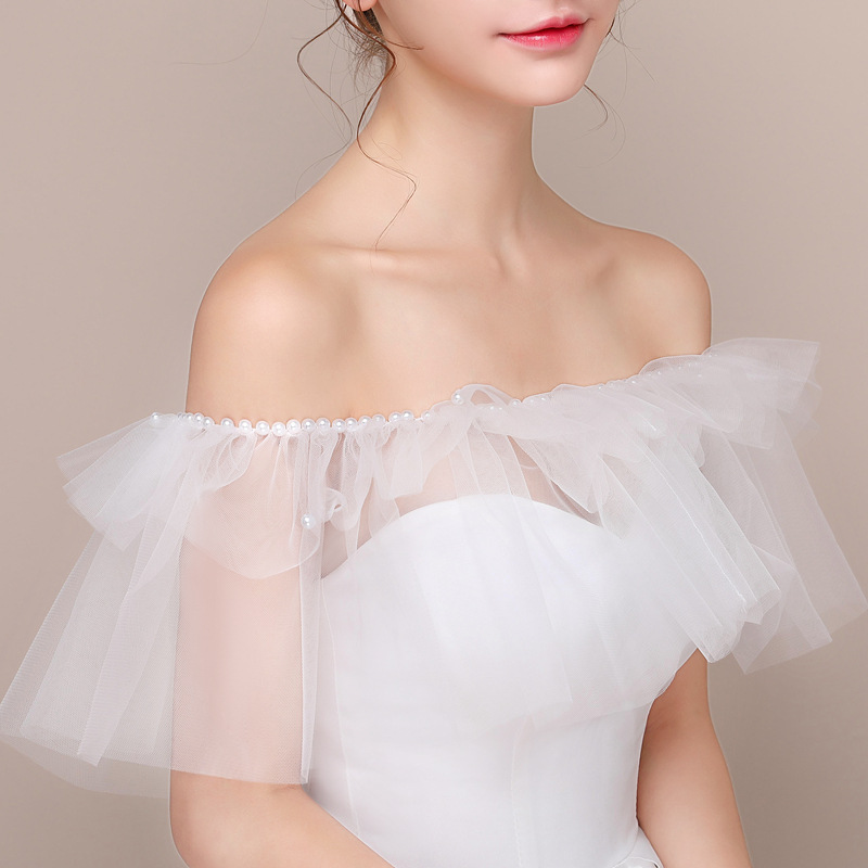 Nieuwe Stijl Sexy Off Shoulder Mesh Bridal Wraps Shawl Zomer Witte Vrouwen Bolero Bruiloft Jassen Wrap Veste Giet Mariage Femme Materialen Van Hoge Kwaliteit
