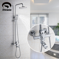 Solid Brass Chrome 8 Rainfall Shower Head Bathroom Shower Faucet Rotating Tub Mixer Tap With Hand