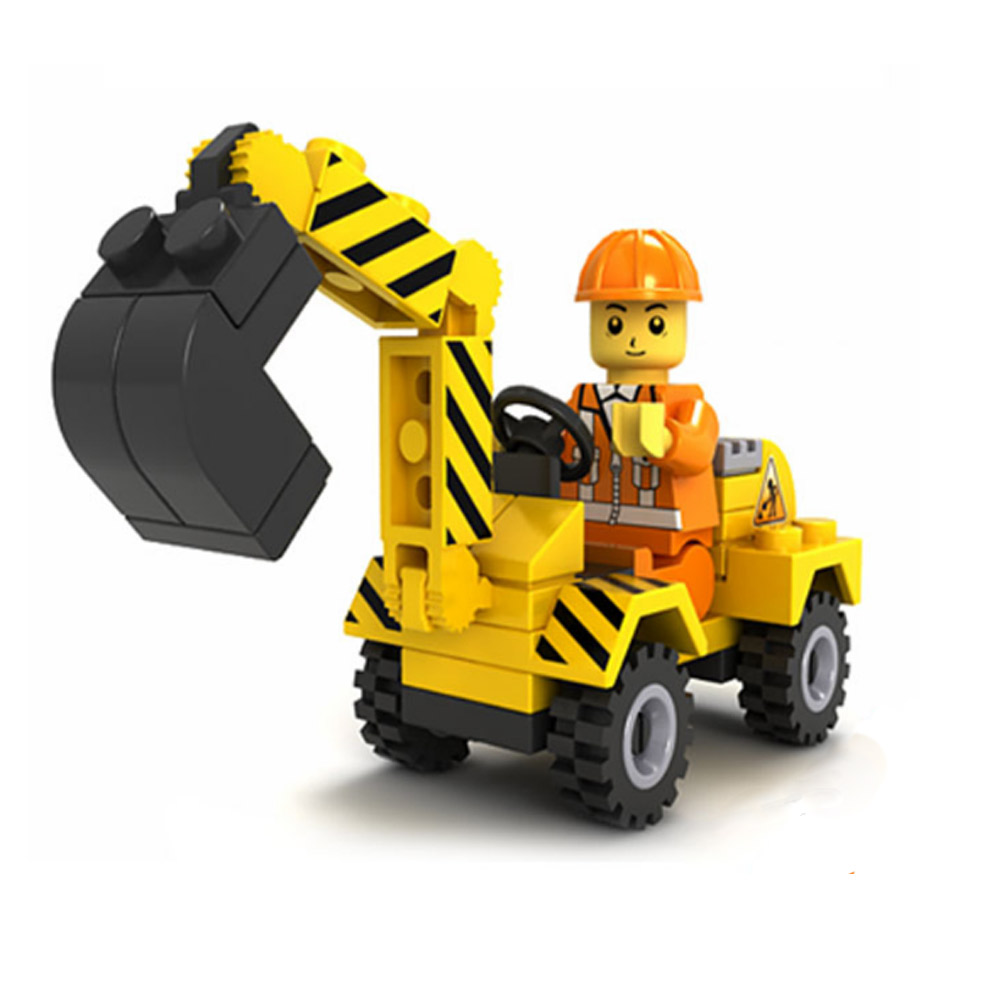 Boy Kids Building Blocks Model Toys Excavator Self-Locking Bricks Engineering Car DIY Assemble Children Learning Education Toy