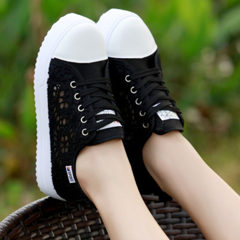 Zapatos White Respirant Découpes Plate Mujer 2018 Plat Chaussures D'été Sneakers Femmes Casual black Toile forme Creepers Dentelle w0ZOx1Iq