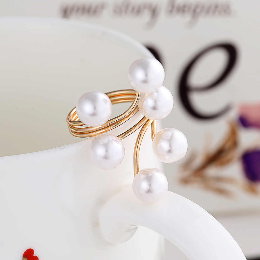 2019 New Arrival Golden Plated Ring Fashion Elegant Imitation Pearl Adjustable Opening Rings For Women