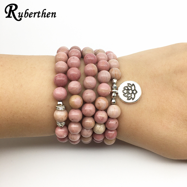 Ruberthen On Sale New Women`s Yoga Bracelet 108 Mala Rhodonite Balance Bracelet Simple Design Healing Spiritual Gift 3