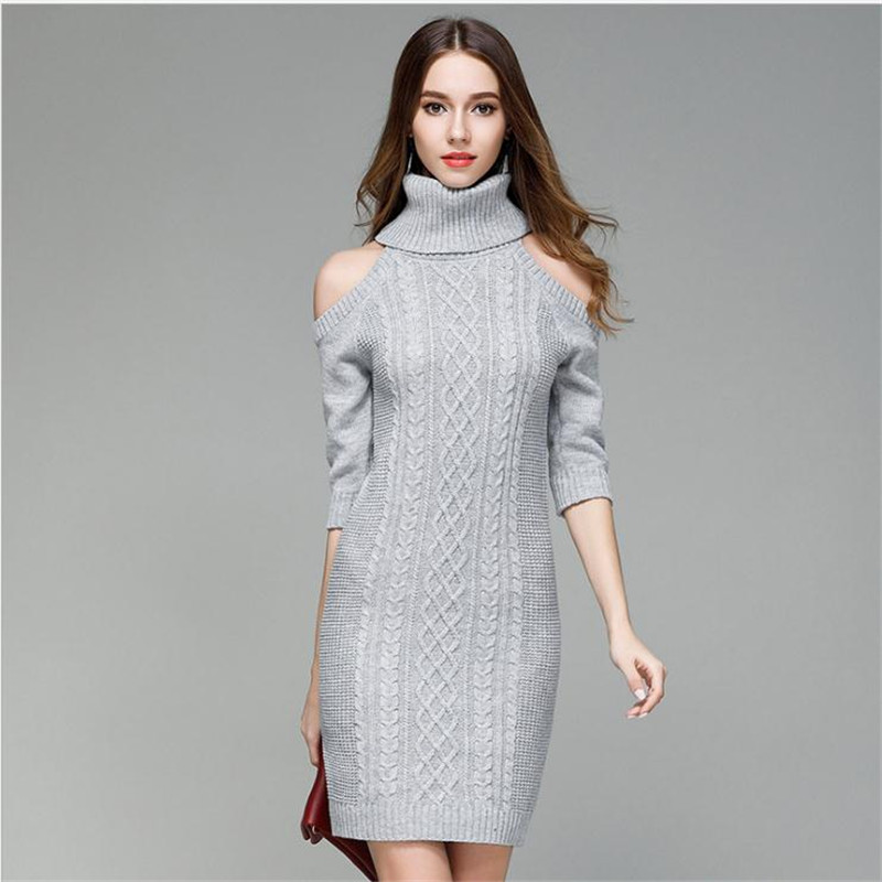 2018 New Fashion Arrival Women Spring Autumn Sexy Knitted Dress Female Turtleneck Sheath  High Elasticity Knitted Dress CQ1119 2016 women s clothing fashion in europe and the atmosphere bohemia elasticity knitted cultivate one s morality dress
