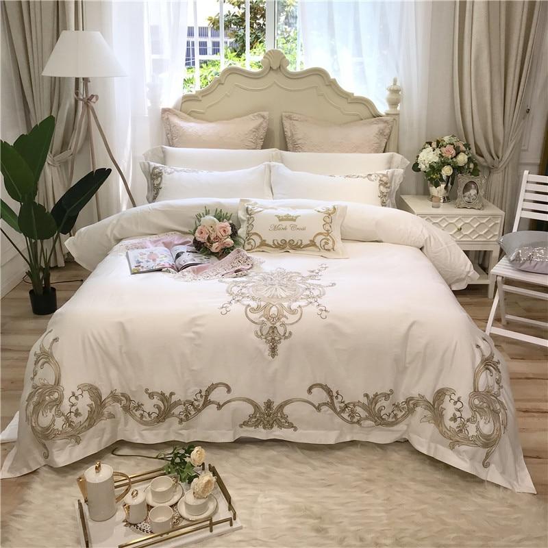 4/7 piezas blanco rosa lujo dorado bordado 80 S algodón egipcio ropa de cama juego King Queen tamaño edredón sábana fundas de almohada-in Juegos de ropa de cama from Hogar y Mascotas    1