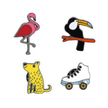 WKOUD Red Bird Toucan Dog Skate Enamel Brooches Button Pins Denim Clothes Buckle Badge Animal Sports Jewelry Gift for kids(China)