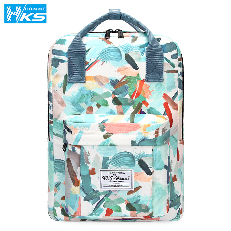New Women's <font><b>Backpack</b></font> Female <font><b>Backpacks</b></font> School bag For Girls Fashion Rucksack Waterproof canvas Travel Bag laptop 14 15.6 inch image