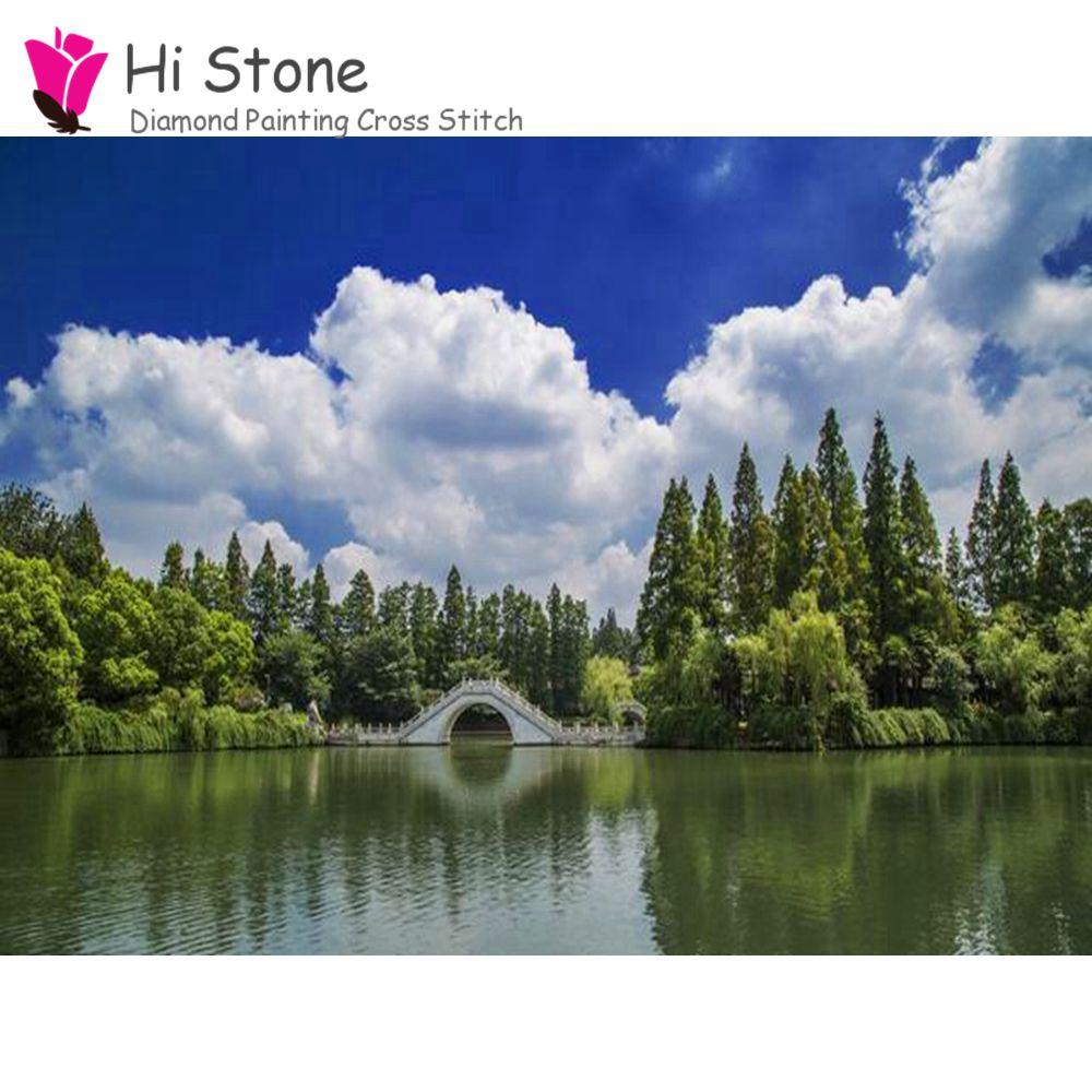 5d поделки алмазов картина весенний пейзаж озеро полный квадрат дрель комплекты крестиком бриллиантовая вышивка рукоделие мозаичный Декор ...