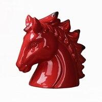 Nordic Country Simple Craft Gift Hotel Villa Coffee Shop Living Room Porch Ceramic Horse Head Decoration Ornaments Home Decor