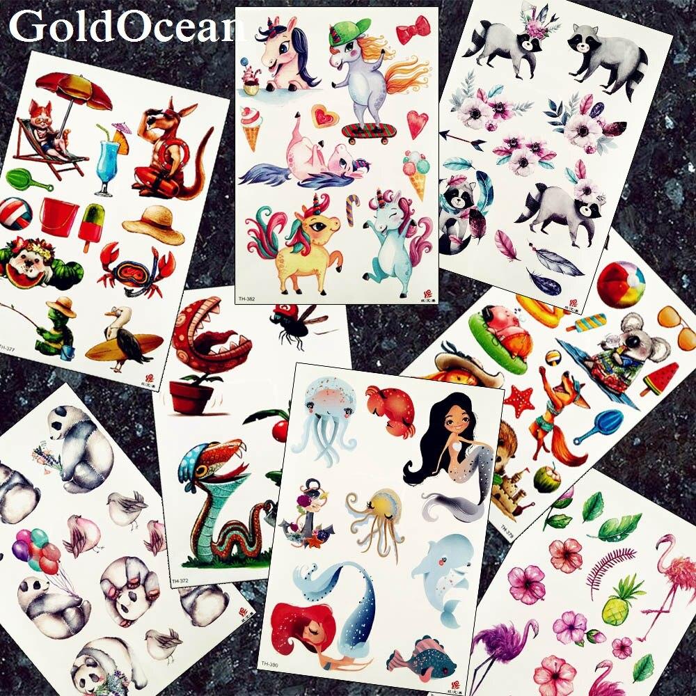 Flash Unicorn Cartoon Children Tattoo Stickers Watercolor Mermaid Girls Arm Tattoos Temporary Fairy Fox Fake Legs 3D Tatoos Xmas