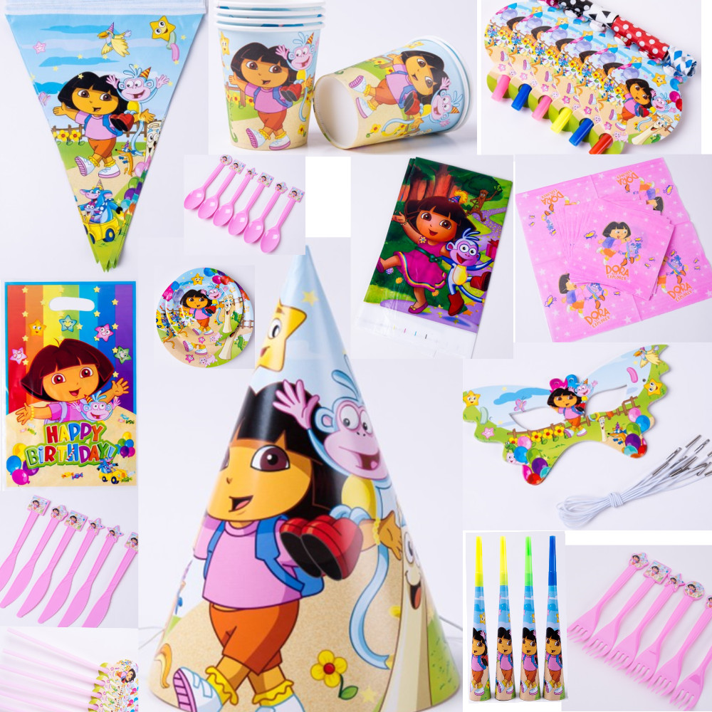 Us 10 15 24 Off 116pcs Dora New Kids Birthday Party Decoration Set Birthday Dora Theme Party Supplies Baby Birthday Party Pack For 12 People In