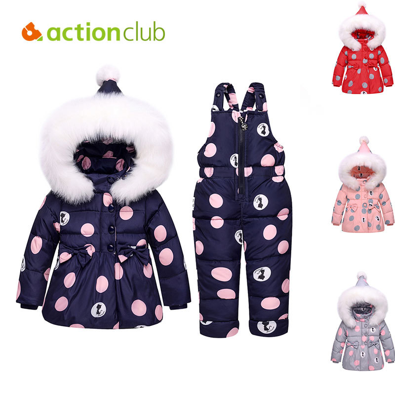 Actionclub Hooded Down Jacket with Fur for Kids Winter Russia Dot Cartoon Snowsuit Children Outwear Winter Baby Girls Knot Coat forward forward command aw15 hooded down jacket