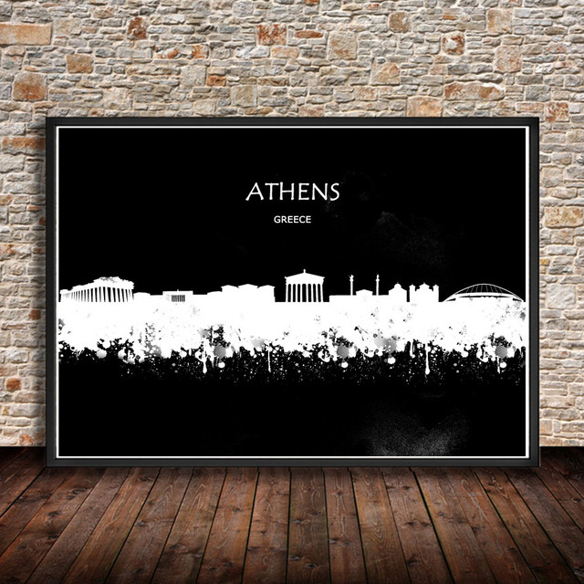 Hot Sale Abstract Watercolor City Building ATHENS Greece Art Prints ...