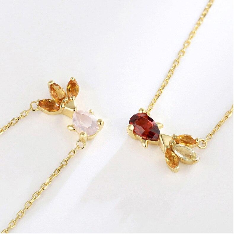 Nouveau 100% collier en argent Sterling naturel rétro Royal grenat poisson rouge pendentif collier rose cristal femme Fine amour bijoux