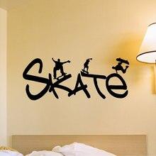 Deporte extremo Patinadores Con Patineta Skate Cotizaciones de Pared de Vinilo Pegatinas Mural Decal Deporte Serie Home Dormitorio Fresco DecorM-47