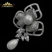 Impresionante de La Vendimia Pavimenta Claro CZ Blanco Orquídea Broche de La Flor el Tono de plata Concha de Perla Centrado y Gota Pin Floral para boda