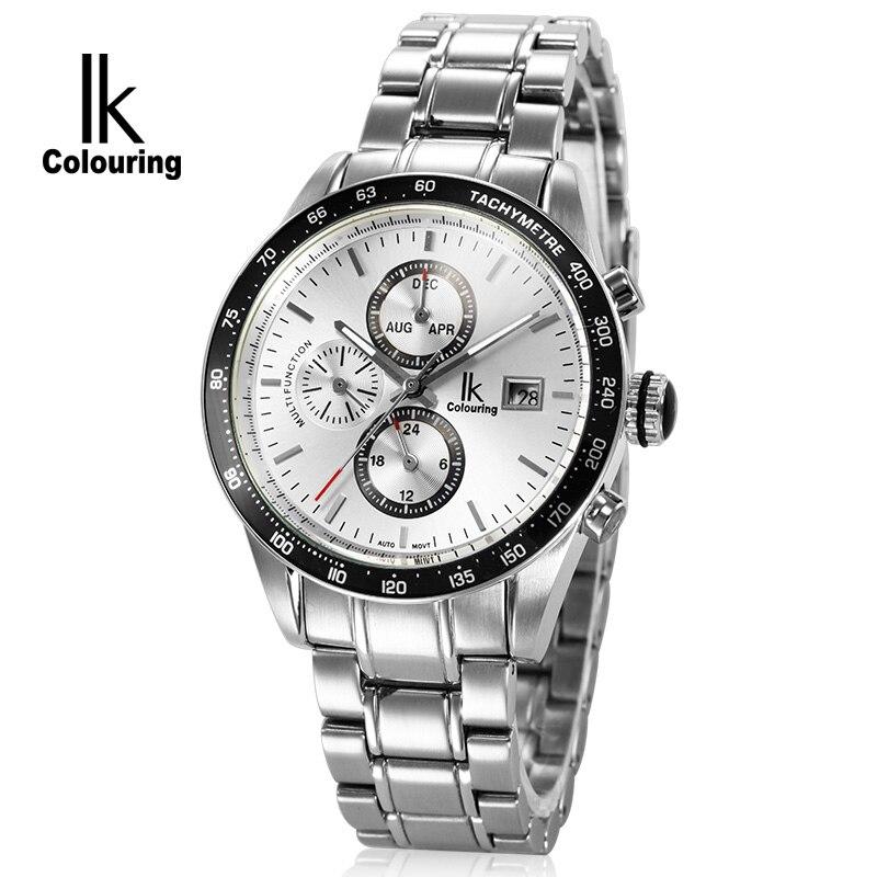 2017 IK Casual Mens Watches Automatic Day/Week/24Hours Mechanical Wristwatch Orignal Box Free Ship
