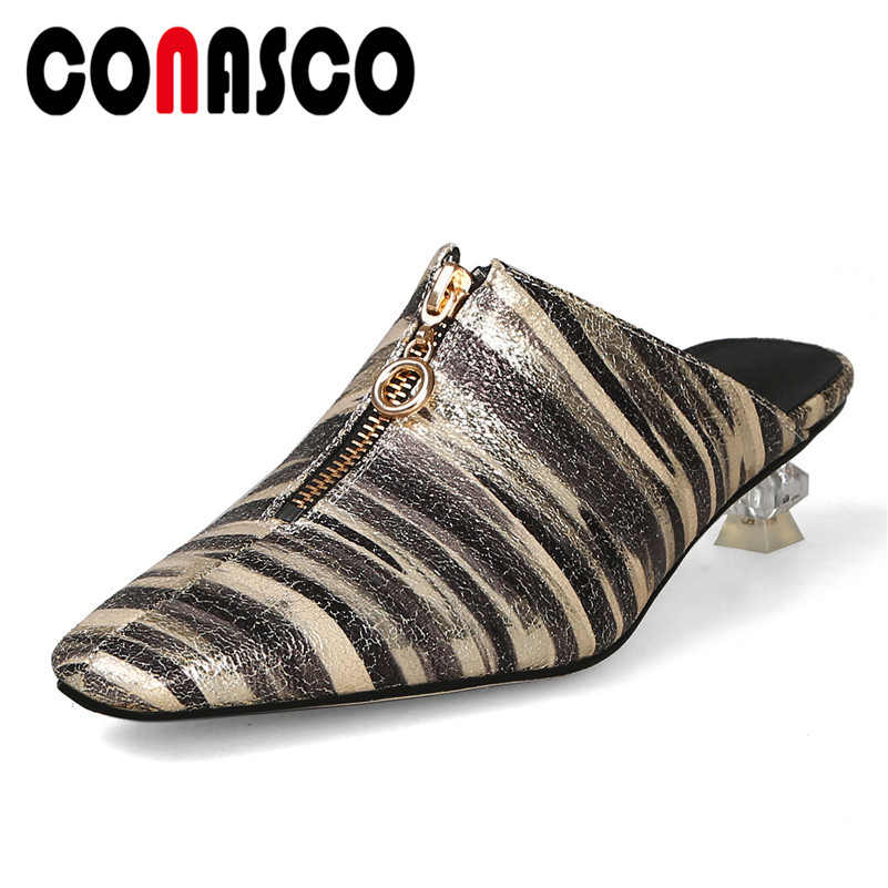 CONASCO Animal Prints Pu Leather Women Pumps Fashion Sexy Mules Pointed Toe High Heels Casual Shoes Woman Spring Summer Shoes