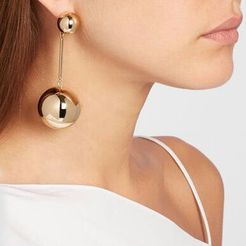 Best lady Trendy Fashion Circle Bib Bead Smooth Face Statement Maxi Bijoux Charm Party Indian Bijoux Boho Earring For Women 3591