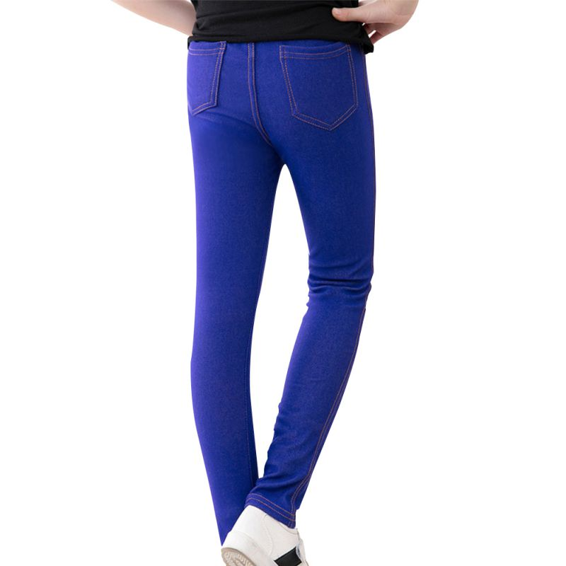 Kids Mid Waist Full Length Pants Girls Pencil Knit Imitation Denim Fabric Jeans 2017 new women jeans mid waist woman harem pants denim drawstring light loose patchwork trousers spliced summer length