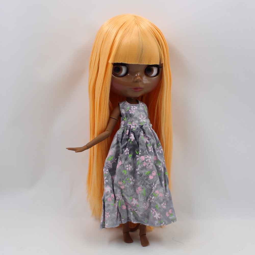 Neo Blythe Doll with Orange Hair, Black skin, Shiny Face & Jointed Body 2