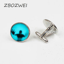 ZBOZWEI UNS horror film Die Walking Dead charme Steampunk Manschettenknöpfe doctor who 1 teile/los mens vintage kette vintage 2018 flash(China)