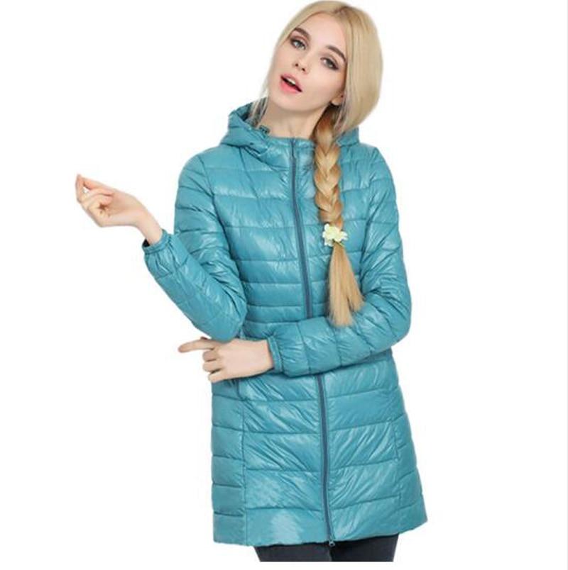 2016 fashion style winter coat women slim hooded down parka long winter jacket women outerwear elegant solid jacket coat KL218
