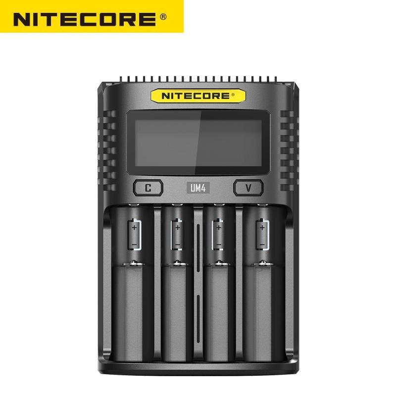 Carregador Inteligente Nitecore UM4 USB quatro-slot QC Circuito Global de Seguros AA li-ion 18650 14500 16340 26650 Carregador