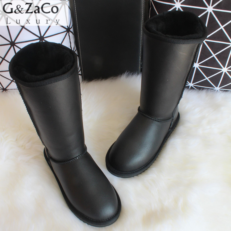 G&Zaco Winter Knee High Classic Snow Boots Australia Sheepskin Boots Natural Wool Sheep Fur Genuine Leather Women's Long Boots