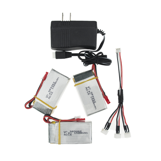 7.4V 1500Mah 3pcs/lot 2S With 1split3 cable and US/China Plug charger 25C JST plug Lipo Battery For WLtoys V913 L959 L202